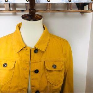 Premium Gold Denim Crop Jean Jacket
